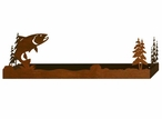 """18"""" Trout Fish and Pine Trees Metal Wall Shelf with Ledge"""