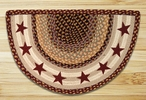 "18"" x 29"" Burgundy Stars Braided Jute Slice Rug"