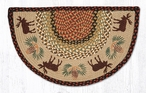 "18"" x 29"" Moose and Pinecones Braided Jute Slice Rug"