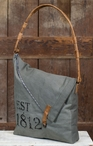1812 Fold-Over Stonewashed Canvas and Soft Leather Tote Bag