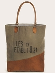 1821 Stonewashed Canvas and Soft Leather Tote Bag