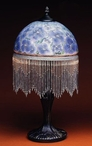 "19.5"" Blue Pansy Flowers Glass and Metal Table Lamp"