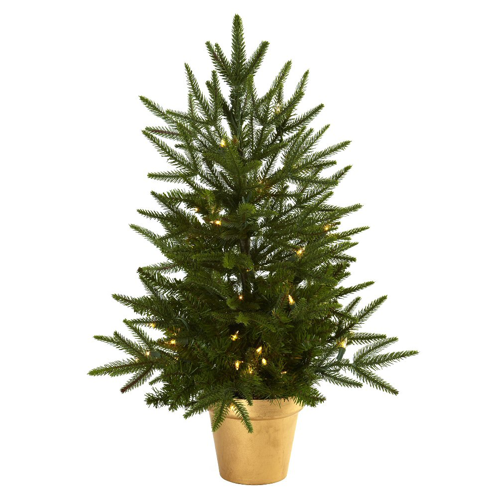 Artificial christmas tree with golden planter clear