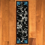 2' x 8' Fancy Cowhide Turquoise Western Rectangle Runner Rug