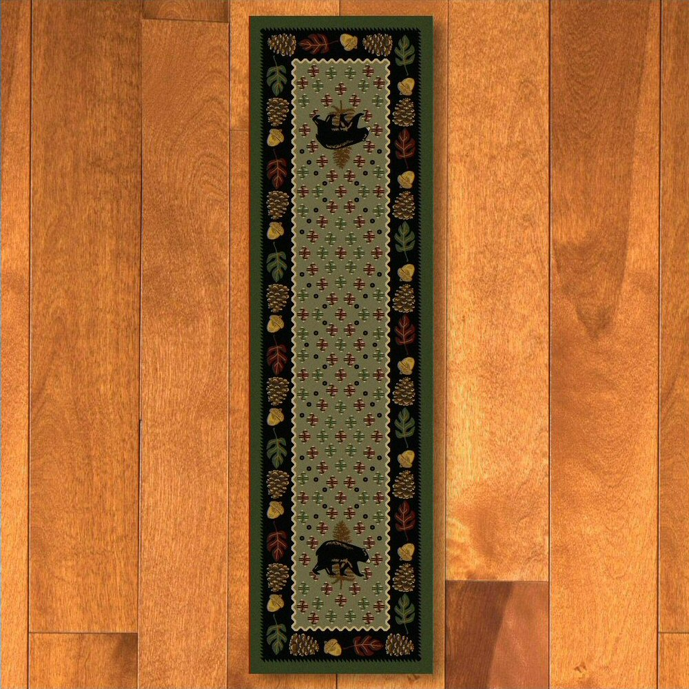 2 X 8 Patchwork Bear And Pinecones Green Wildlife