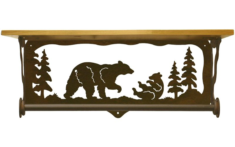 20 bear family scene metal towel bar with pine wood top. Black Bedroom Furniture Sets. Home Design Ideas