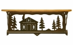 """20"""" Cabin in the Pines Metal Towel Bar with Alder Wood Top Wall Shelf"""
