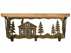 """20"""" Cabin in the Pines Metal Wall Shelf and Hooks with Alder Wood Top"""