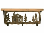 """20"""" Cabin in the Pines Metal Wall Shelf and Hooks with Pine Wood Top"""