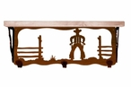 """20"""" Cowboy Scene Metal Wall Shelf and Hooks with Alder Wood Top"""