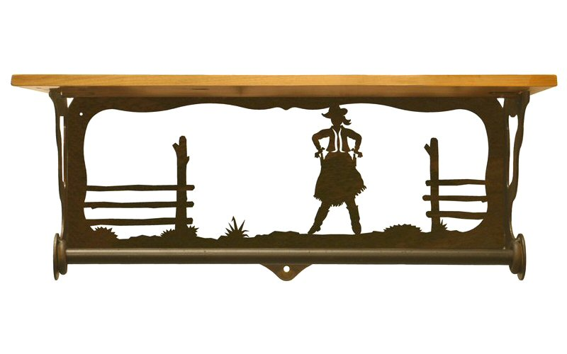 20 cowgirl scene metal towel bar with pine wood top wall. Black Bedroom Furniture Sets. Home Design Ideas