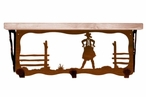 """20"""" Cowgirl Scene Metal Wall Shelf and Hooks with Pine Wood Top"""