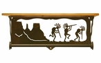 "20"" Dancing Kokopellis Metal Towel Bar with Pine Wood Top Wall Shelf"