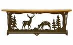 "20"" Deer Family Scene Metal Towel Bar with Alder Wood Top Wall Shelf"
