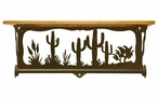 "20"" Desert Scene Metal Towel Bar with Pine Wood Top Wall Shelf"