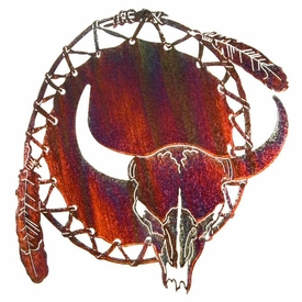 """20"""" Dream Catcher with Cow Skull Metal Wall Art"""