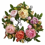 20'' Mixed Peony and Berry Silk Wreath