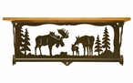 "20"" Moose Family Scene Metal Towel Bar with Alder Wood Top Wall Shelf"