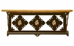 "20"" Picture Jasper Stone Metal Towel Bar with Pine Wood Top Wall Shelf"