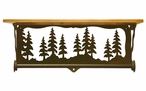 """20"""" Pine Tree Forest Metal Towel Bar with Alder Wood Top Wall Shelf"""