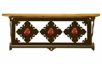 "20"" Red Jasper Stone Metal Towel Bar with Pine Wood Top Wall Shelf"