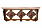 """20"""" Red Jasper Stone Metal Wall Shelf and Hooks with Pine Wood Top"""