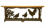 """20"""" Rooster Family Scene Metal Towel Bar with Pine Wood Top Wall Shelf"""
