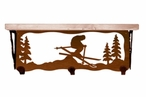 """20"""" Snow Skier Metal Wall Shelf and Hooks with Pine Wood Top"""