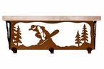 """20"""" Snowboarder Metal Wall Shelf and Hooks with Pine Wood Top"""