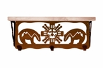 """20"""" Southwest Metal Wall Shelf and Hooks with Pine Wood Top"""