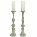 "20"" Teal Rustic Pillar Candle Holder, Set of 2"