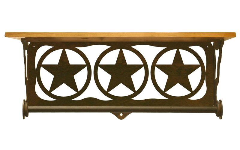 20 texas star scene metal towel bar with pine wood top. Black Bedroom Furniture Sets. Home Design Ideas