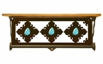 "20"" Turquoise Stone Metal Towel Bar with Pine Wood Top Wall Shelf"