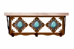 """20"""" Turquoise Stone Metal Wall Shelf and Hooks with Pine Wood Top"""