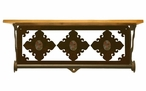"20"" Unakite Stone Metal Towel Bar with Pine Wood Top Wall Shelf"