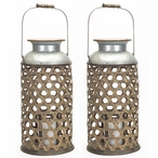 "20"" Wicker Weave Pillar Candle Holder, Set of 2"