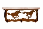 """20"""" Wild Horses Metal Wall Shelf and Hooks with Alder Wood Top"""