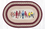 """20"""" x 30"""" Assorted Birds on a Wire Braided Jute Oval Rug"""