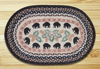 """20"""" x 30"""" Black Bears and Pinecones Braided Jute Oval Rug"""