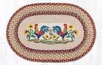 """20"""" x 30"""" Country Morning Rooster Birds Jute Oval Rug by Sandy Clough"""
