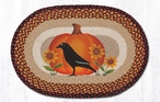 "20"" x 30"" Crow Bird with Pumpkin and Sunflowers Braided Jute Oval Rug"