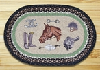 """20"""" x 30"""" Equestrian Collage Braided Jute Oval Rug by Harry W Smith"""