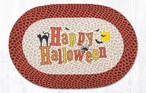 "20"" x 30"" Happy Halloween with Black Cat & Bats Braided Jute Oval Rug"