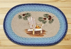 """20"""" x 30"""" Lake Chair & Pinecones Braided Jute Oval Rug by Sandy Clough"""