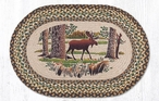 """20"""" x 30"""" Moose in the Forest Braided Jute Oval Rug by Sandy Clough"""