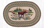 """20"""" x 30"""" Moose Wading in Water Braided Jute Oval Rug by Sandy Clough"""