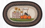 "20"" x 30"" Pumpkin Patch and Sunflowers Jute Oval Rug by Susan Burd"
