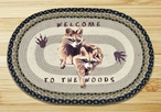 """20"""" x 30"""" Raccoons Welcome to the Woods Braided Jute Oval Rug"""