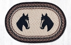 """20"""" x 30"""" Two Horse Heads Braided Jute Oval Rug"""