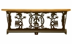 "20"" Yei Southwest Scene Metal Towel Bar with Alder Wood Top Wall Shelf"